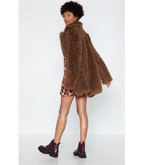 womens can you feel it faux fur coat - brown