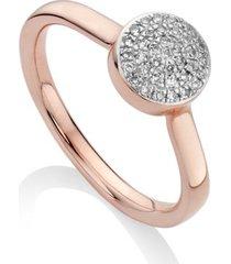 fiji diamond button ring, rose gold vermeil on silver