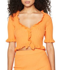 bcbgeneration ruffled cropped cardigan