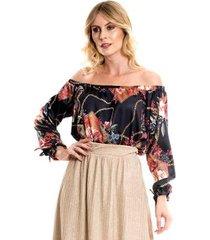 blusa bisô ciganinha estampada feminino