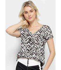 blusa acostamento estampada feminina