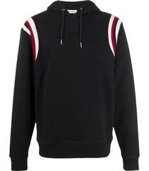 sandro paris stripe panel hoodie - black