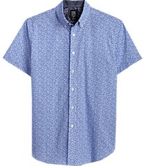 con. struct blue abstract dot slim fit short sleeve sport shirt