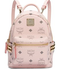 mcm 'x-mini stark side stud' convertible backpack - pink