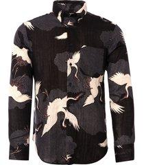 naked & famous denim black japanese crane shirt 120513511-blk