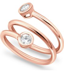 giani bernini cubic zirconia bezel wrap ring in 18k rose gold-plated sterling silver, created for macy's