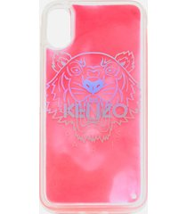 kenzo women's iphone x tiger head sand phone case - pink