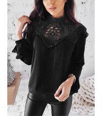 blusa de gasa de manga larga ahuecada con encaje negro
