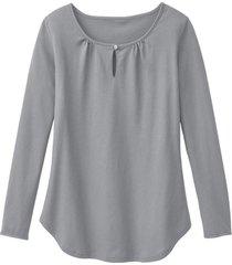 shirt met lange mouw en druppelhals, zilvergrijs 36/38