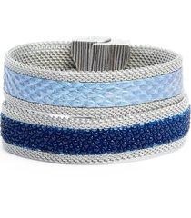 cynthia desser shimmer stingray & snakeskin bracelet in blue/silver at nordstrom