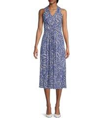 tommy hilfiger women's paisley-print twist-front midi dress - blue - size 16