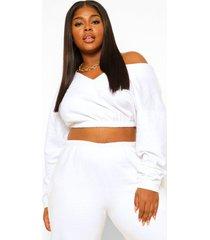 plus oversized sweater met v-hals, white