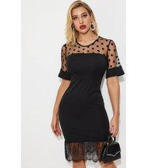 vestido de dobladillo de encaje de malla con lunares negros yoins