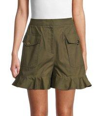 alexander mcqueen women's ruffled utility shorts - green - size 42 (6)