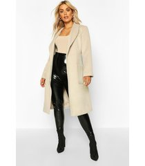 plus brushed wool look belted duster coat, ivory