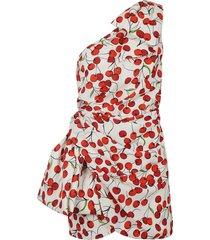 saint laurent one-shoulder cherry print gathered dress