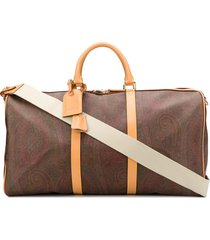 etro paisley patterned weekend bag - neutrals