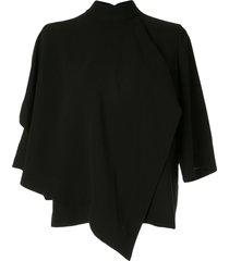 akira naka draped design blouse - black