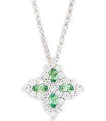 18k white gold, tsavorite, diamonds, & ruby flower pendant necklace