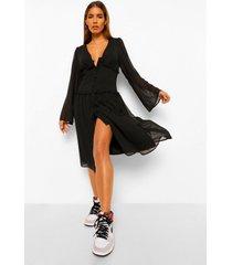 chiffon midi jurk met franjezoom, black