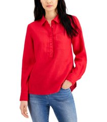 inc linen frayed tunic, created for macy's