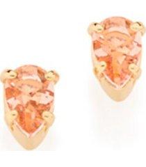 brinco bijoulux rosa claro solitário cristais no formato gota semi jóia