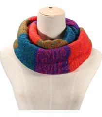 donna casual sciarpa invernale a maglia pesante in colore iridescente di acrobaleno morbida confortevole calda