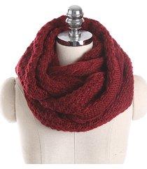 donna sciarpa ad anello in maglia calda in colore a tinta unita