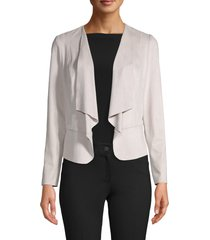anne klein drape front faux suede jacket, size x-large in stone at nordstrom