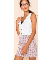 women's sophia plaid mini skirt in pink by francesca's - size: m