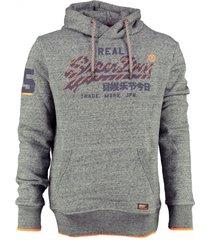 superdry grijze sweater hoodie valt ruim