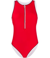perfect moment half-zip one-piece swimsuit - red