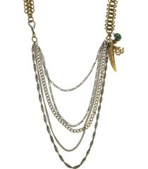 t.r.u. by 1928 mixed metal multi swag layer charm necklace