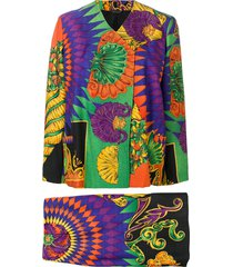 versace pre-owned 1990's printed skirt suit - green
