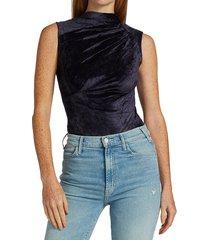 rta women's julie sleeveless highneck velvet bodysuit - navy - size s