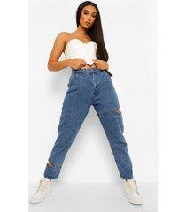 mom jeans met uitsnijding, middenblauw