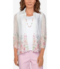 alfred dunner women's missy springtime in paris border floral lace two for one top