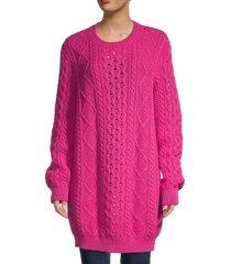 redvalentino women's virgin wool knit longline sweater - giallo - size s