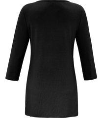 lang shirt met ronde hals en mouwen in 3/4-lengte van anna aura zwart