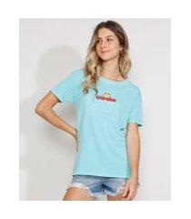 camiseta feminina manga curta garfield ampla decote redondo azul claro