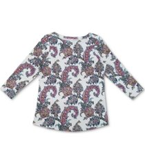 charter club 3/4-sleeve cotton top, created for macy's