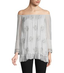 off-the-shoulder embroidered floral silk top