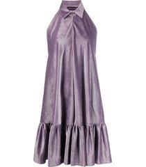 talbot runhof satin corduroy dress - purple