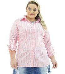 37e999521 Camisas - Plus Size - Feminino - Manga Longa - Elastano Modal - 3 ...