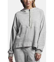 cotton hooded patched sweat top