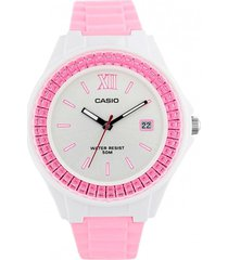 reloj analógico rosado  casio