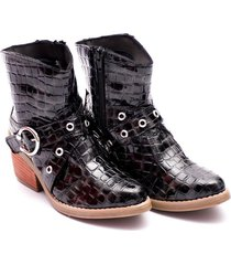 botineta texana negra valentia calzados 2520 corta charol