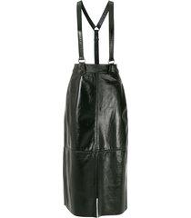 nk suspenders leather midi skirt - black