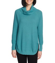women's chaus cowl neck sweater, size large - blue/green