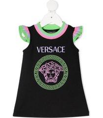 versace kids medusa head-print dress - black